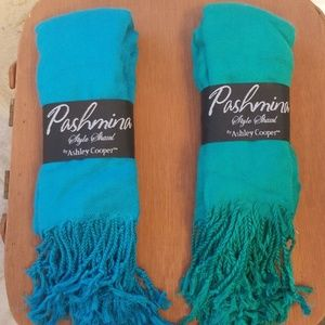 Teal and Kelly Green Shawls